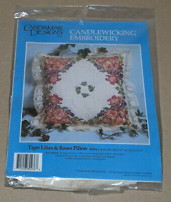 """Candamar """"Tiger Lilies & Roses Pillow"""" Floral Candlewicking Embroidery Kit 14x14"""