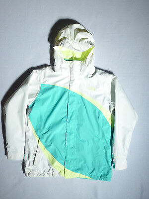 North Face Girls Hyvent 3-in-1 White & Turquoise Jacket w/ Hood - XL (18)