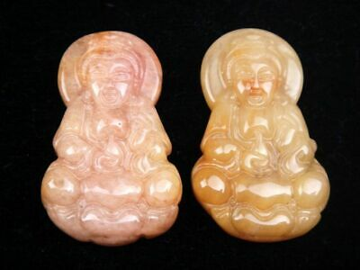 Pair Nephrite Jade Carved Pendant Kwan-Yin Mercy Buddha Holding Water Bottle #R2