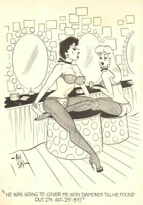 Showgirls, Fishnets, Lingerie - Humorama 1958 art by Ah Sin
