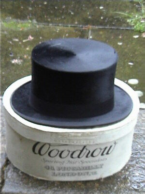 Antique Woodrow Belfast Black Silk Top. Hat Sz 7 3/8. + original Card Box