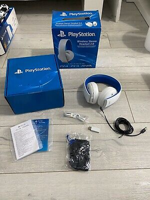Sony Playstation Wireless Stereo Headset 2.0 White For Ps4 Ps3 Psvita With Box