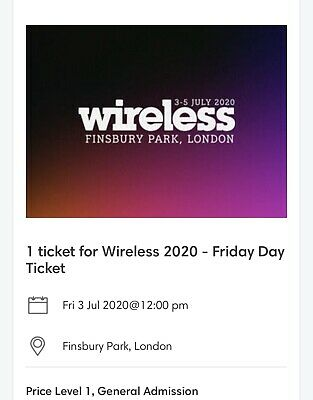 Wireless Festival 2020 Friday 3rd July Ticket. OTHER TICKETS AVAILABLE- LAST PIC