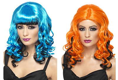 Blue Or Orange Curly Wicked Witch Wig Ladies Halloween Fancy Dress Accessory