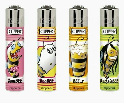 4 x Clipper Lighters Bees 2 NEW SET Gas Lighter Refillable