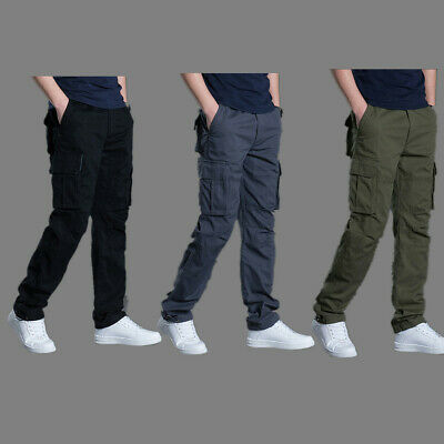 Elasticated Cargo Combat lightweight Cotton Mens Work Trousers Bottoms Pants