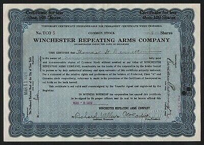 1929 Winchester Repeating Arms Company, Temporary Certificate