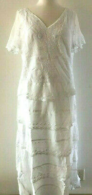 SUNDANCE CATALOG Fluttering Heart WHITE Emb Lace Tiered Maxi Dress Orig $168 NWT