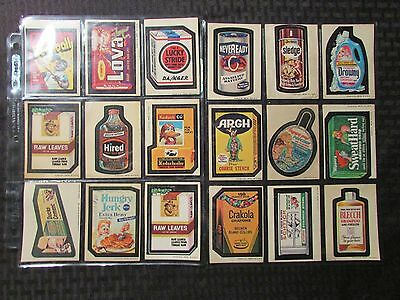 1970's Vintage WACKY PACKAGES Topps Stickers FN FN LOT of 23 Crust Lova Drowny