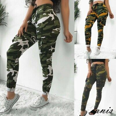 Womens Plus Size Stretch Drawsting Army Camo Camouflage Skinny Jeans cargo Pants