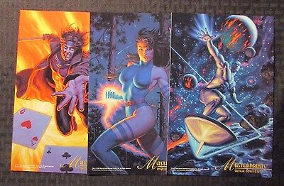 "1994 Fleer MASTERPRINTS Lot of 11 6.5x10"" Cards NM 9.4 Silver Surfer Venom Cap"