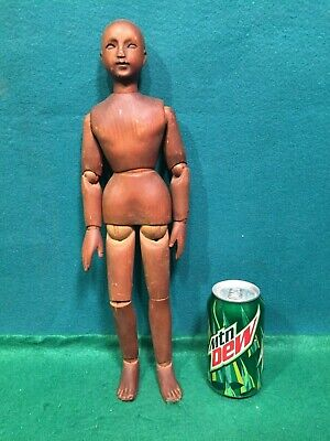 """Antique French? Articulated 16"""" Wood Pegged Artist Model Mannequin Figure Doll."""