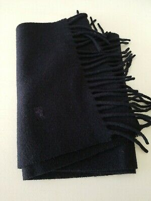 Burberry's Of London Solid Navy Blue 100% Lambswool Scarf New with Tags