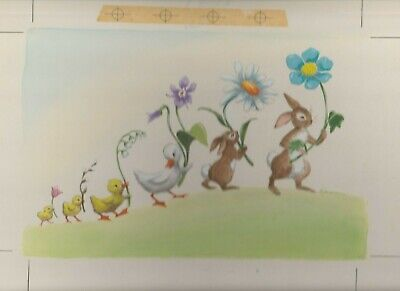 "EASTER Beautiful Painted Bunnies Ducks Parade 13x10"" Greeting Card Art #E2414"