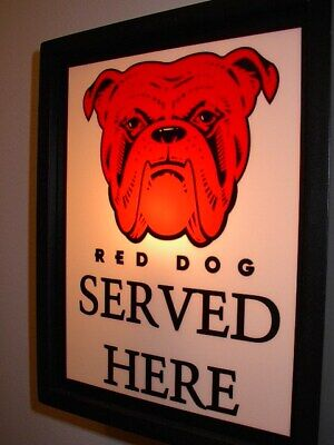 Red Dog Ale Beer Tavern Bar Man Cave Advertising Lighted Sign