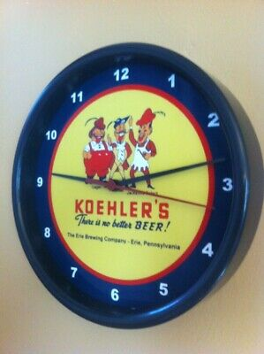 Koehler's Erie Pennsylvania Beer Bar Man Cave Advertising Black Wall Clock Sign