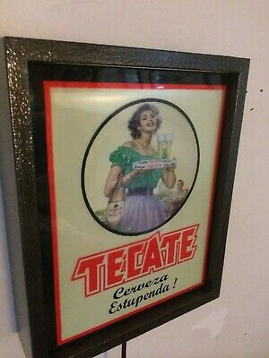 Tecate Pin-up Girl Cerveza Beer Bar Tavern Man Cave Lighted Advertising Sign