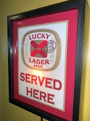 Lucky Lager Beer Bar Tavern Man Cave Lighted Advertising Sign
