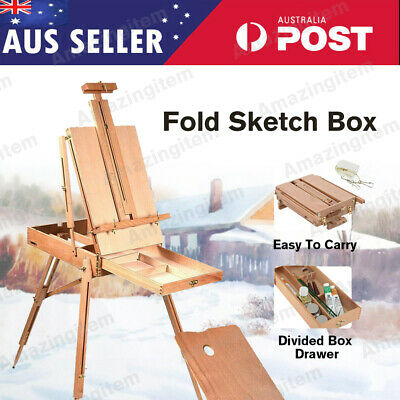 Portable Foldable Wooden Easel Artist Display Painting Tripod Stand Sketch Box