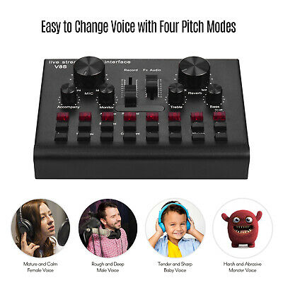 Live Streaming Sound Card USB Audio Interface Mixer BT Connection D6L4