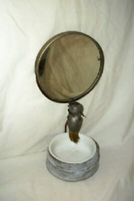 ANTIQUE TIN SHAVING MIRROR STAND CUP PRIMITIVE AGED RUSTY SHABBY CHIC 1890's