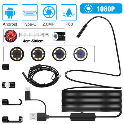 3In1 HD Endoscope USB Type-C Borescope Inspection Camera For Android Waterproof