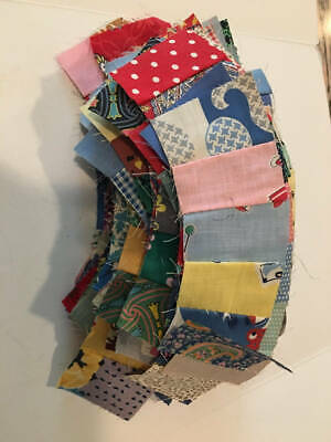 Vintage 1930's/40's Quilt Pieces 94 For Wedding Ring Quilt Feedsacks Cottons