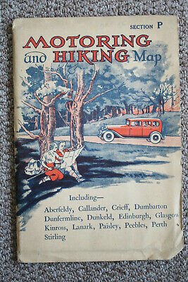 W. & A.K. Johnston, Motoring And Hiking Map, Section P, Glasgow, Perth, Paisley.