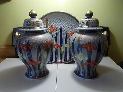 "Two Beautiful Large 14"" Porcelain Urns & Large Wall Plaque"