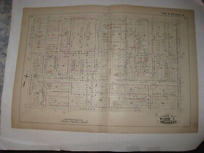Antique 1880 Clinton Hill Brooklyn New York City Handcolored Map Trolley Lines