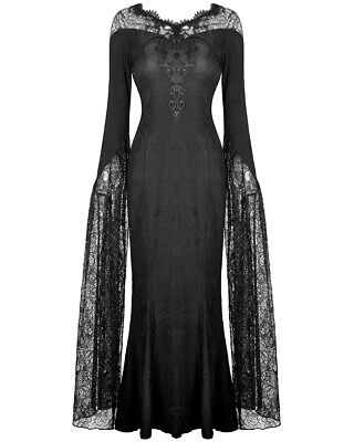 Dark In Love Long Gothic Maxi Dress Black Jacquard Floral Lace Sleeve Witch VTG