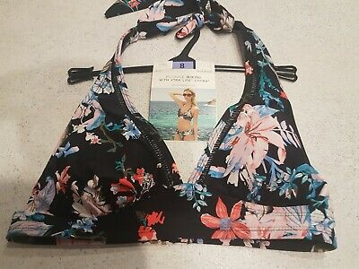 M/&S Floral Removable Cups Adjustable Straps Plunge Tankini Top Uk 12 BNWT