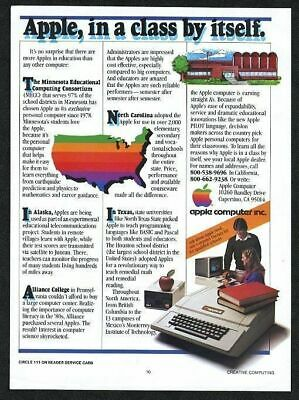 1981 Apple 2 Computer photo USA rainbow map art vintage print ad