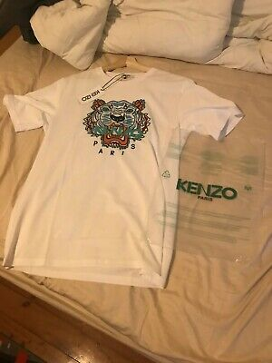 NWT KENZO KIDS T-shirt Tiger Classic Prin White Tee Women Youth Unisex Authentic