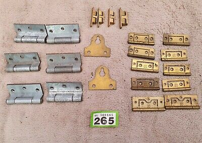 Vintage Collection of Hinges And Cupboard Latches Cabinet Clips Brass and Steel