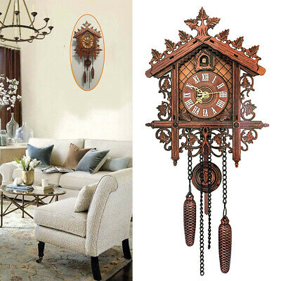 Fj- Handcraft Wood Cuckoo Wall Clock Housetree Style Vintage Home Room Art Decor