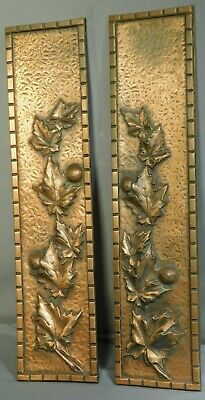 Pair Antique Arts Crafts Copper Bronze Sculpture Panels Relief SYCAMORE Leaves