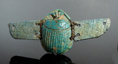 Large Egyptian Faience Winged Blue Scarab (N80)