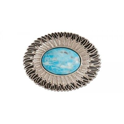 "Turquoise Feather Buckle, 1-1/2"" (38mm)"