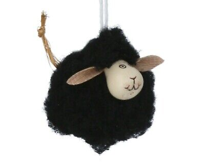 Cute Black Hanging Woolly & Wood Mini Sheep decoration ornament Country Easter