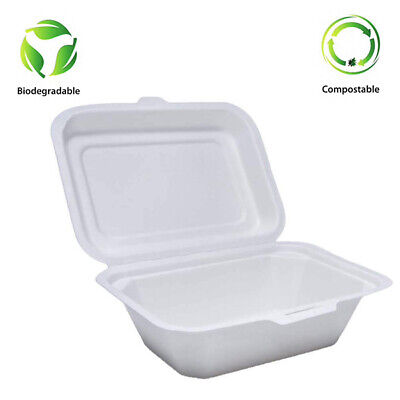 "7"" X 5"" Bagasse Sugar cane  Chip Box Clam shell food containers Biodegradable"