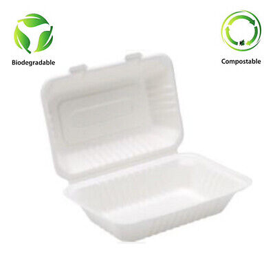 "9"" X 6"" Bagasse Clam shell food containers Biodegradable 125 Pcs Only £19.25"