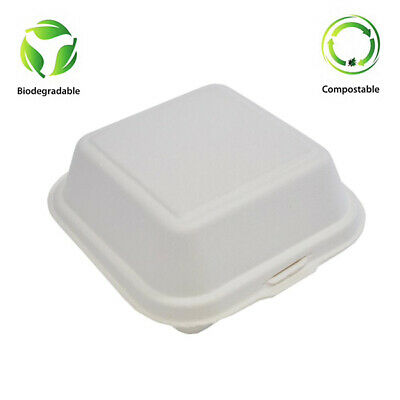 "6"" X 6"" Bagasse Sugar cane Hinged Box Clam shell food containers Biodegradable"