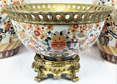 Japanese Giant Imari Export Porcelain Bowl - French Brass Ormolu Mount gorgeous