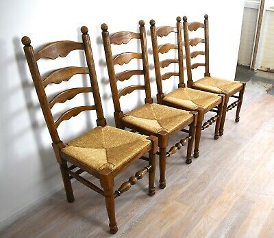 4 X Mid 20Th Century Ash Rush Seated Ladder Back Chairs