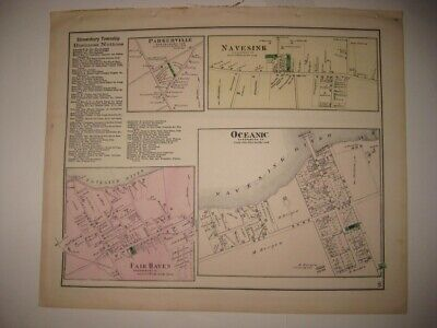 Antique 1873 Rumson Fair Haven Little Silver Navesink New Jersey Handcolored Map