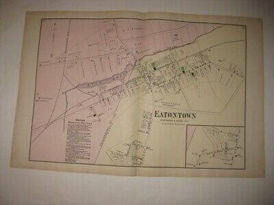 Antique 1873 Eatontown Monmouth County New Jersey Handcolored Map Superb Rare Nr