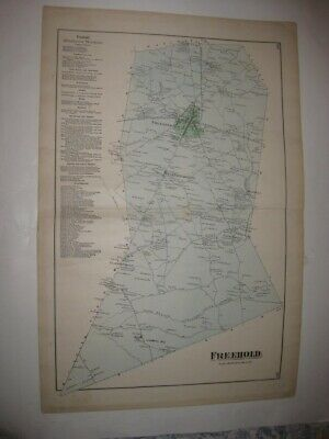 Antique 1873 Freehold Township Monmouth County New Jersey Handcolored Map Superb