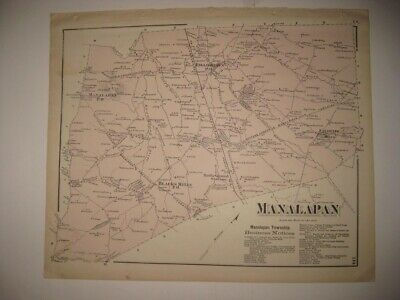 Antique 1873 Manalapan Township Englishtown New Jersey Handcoolored Map Superb