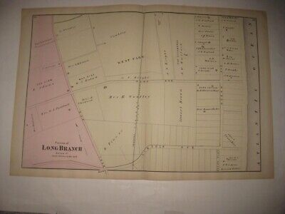 Antique 1873 Long Branch New Jersey Handcolored Map Us Ulysses Grant House Rare